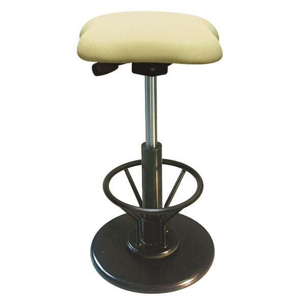 モダン スツール/丸椅子 【フットレスト付き アイボリー×ブラック】 幅33cm 日本製 【代引不可】