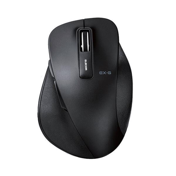 (まとめ)エレコム EX-GワイヤレスBlueLEDマウス Lサイズ ブラック M-XGL10DBBK 1個【×2セット】