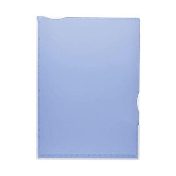 (まとめ)TANOSEE 超丈夫なマチ付クリアホルダー タフレル A4タテ ブルー 1パック(5枚)【×20セット】