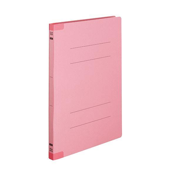 (まとめ)TANOSEEフラットファイル(背補強タイプ) A4タテ 150枚収容 背幅18mm ピンク1セット(100冊:10冊×10パック)【×3セット】