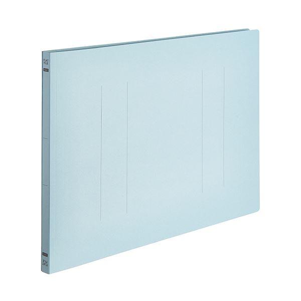 (まとめ) TANOSEEフラットファイルE(エコノミー) A3ヨコ 150枚収容 背幅18mm ブルー 1パック(10冊) 【×10セット】