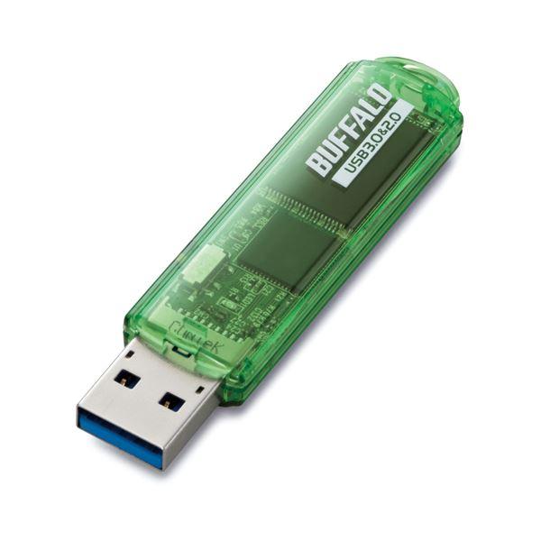 (まとめ)バッファロー USB3.0対応USBメモリー スタンダードモデル 16GB グリーン RUF3-C16GA-GR 1個【×2セット】