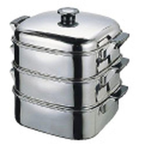 デンサン (T)18-8角型蒸器 24cm 3段 AMS68243【送料無料】