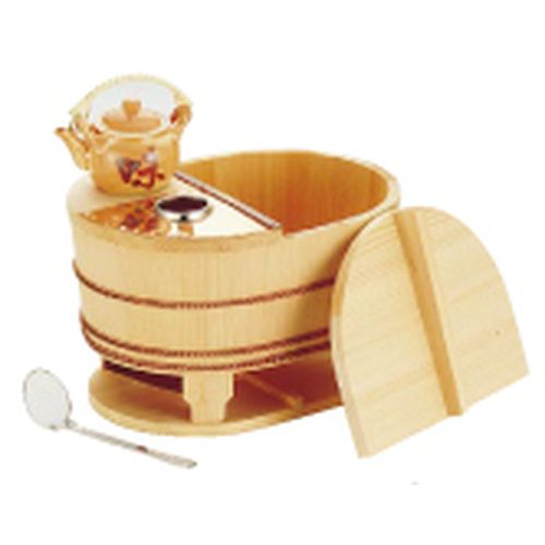 ヤマコー サワラ小判型湯ドーフセット(炭用) US-1025 4~5人用 QYD03025