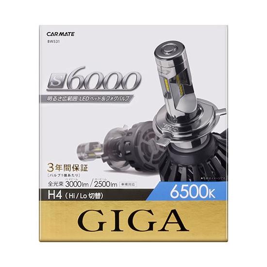 カーメイト LEDヘッド&フォグバルブ S6000 6500K H4 BW531 高出力 明るさ広範囲