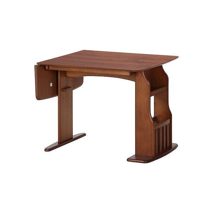 食卓4点セット テーブル12075 W900~1200×D750×H710mm プリント紙 おしゃれ ミディアムブラウン(代引不可)【送料無料】