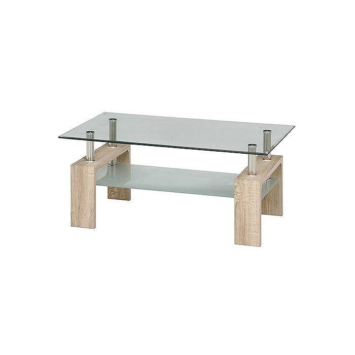 センターテーブル フォーカス W1000×D600×H450mm 強化ガラス スチール おしゃれ ホワイトオーク(代引不可)【送料無料】