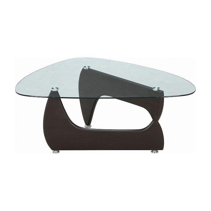 ガラスセンターテーブル W1000×D750×H405mm MDF 強化ガラス おしゃれ ウォルナット(代引不可)【送料無料】【S1】