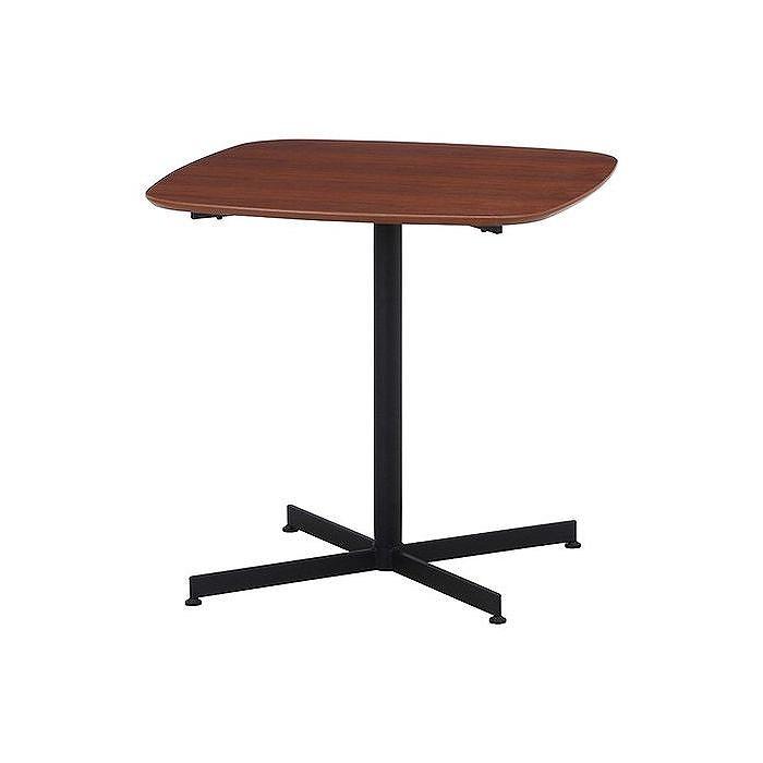 カフェテーブル W750×D750×H720mm 天然木化粧繊維板(ウォルナット) スチール おしゃれ ブラウン(代引不可)【送料無料】【S1】