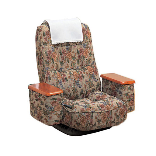 座椅子 リクライニング 天然木 肘付き 高反発回転座椅子 座ったままリリクライニング ブラック(代引不可)【送料無料】