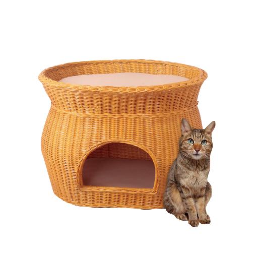 キャットハウス ラタンキャットハウス 2段ベッドタイプ 猫 ハウス 天然籐 ネコちゃんハウス(代引不可)【送料無料】