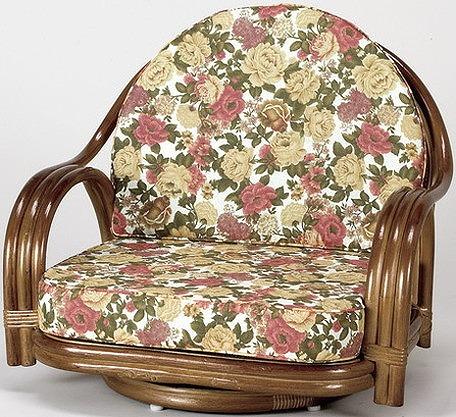 座椅子 天然籐回転チェア ロータイプ 回転座椅子 籐 天然籐 回転 椅子 チェアー イス(代引不可)【送料無料】