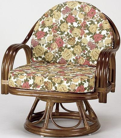 座椅子 天然籐回転チェア ミドルハイタイプ 回転座椅子 籐 天然籐 回転 椅子 チェアー イス 高座椅子(代引不可)【送料無料】