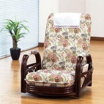 高座椅子 天然籐 リクライニング回転座椅子 ロータイプ リクライニングチェア 籐 回転座椅子 回転チェア 座椅子 椅子 イス(代引不可)【送料無料】