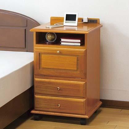 ファムプラス ナイトテーブル 桐製 ベッドサイドワゴン 縦型 コンセント付き ベッドテーブル サイドテーブル 収納(代引不可)【送料無料】