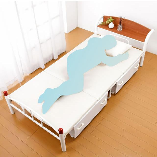ベッド 木製 棚付き パイプベッド シングル 引き出しありタイプ ホワイト ベッド 宮棚 引き出し付き シンプル(代引不可)【送料無料】