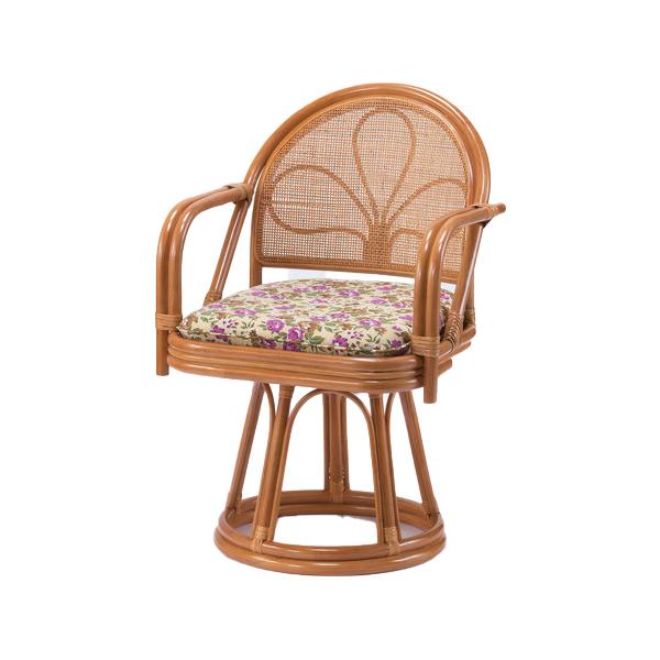高座椅子 天然籐 肘付き回転チェア ハイタイプ 籐 回転チェア 肘付き 座椅子(代引不可)【送料無料】
