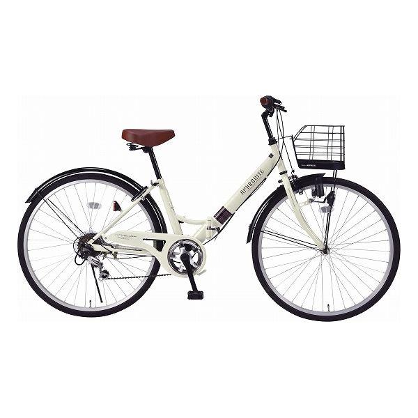 マイパラス シティサイクル26型6ギア肉厚チューブ/折畳式 自転車 26インチ アイボリー M-507 IV(代引不可)【送料無料】