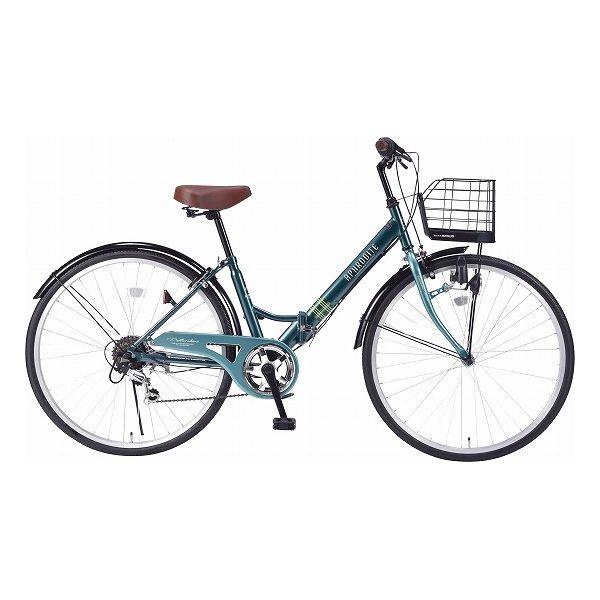 マイパラス シティサイクル26型6ギア肉厚チューブ/折畳式 自転車 26インチ グリーン M-507 GR(代引不可)【送料無料】