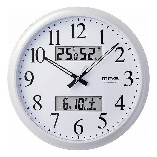マグ 温度湿度カレンダー表示付電波掛時計ダブルリンク W-711WH(代引不可)【送料無料】