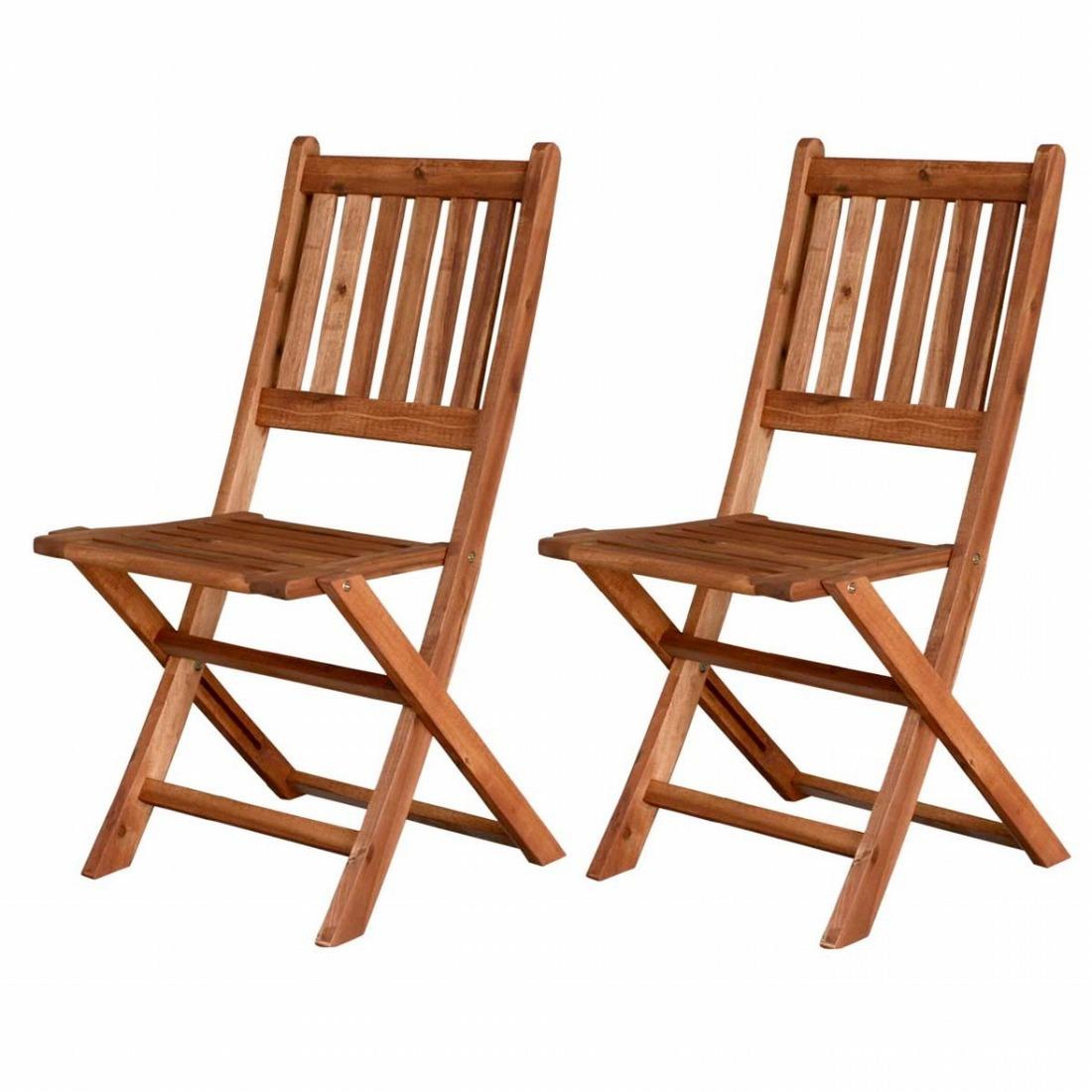 ガーデンチェア(肘なし) 2脚セット 木製 天然木 庭 ベランダ おしゃれ 北欧 ガーデン 屋外 ピクニック キャンプ(代引不可)【送料無料】