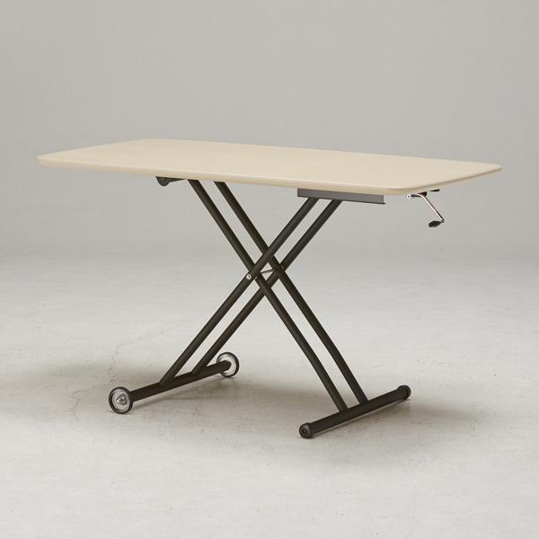 テーブル ガス圧昇降式テーブル 120×70cm 日本製 昇降テーブル ダイニングテーブル ローテーブル リビングテーブル デスク(代引不可)【送料無料】