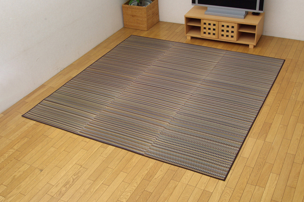 純国産 い草ラグカーペット 『バリアス』 ブラウン 240×240cm(代引き不可)【送料無料】