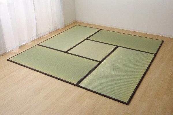置き畳 国産 い草ラグ あぐら ブラウン 4.5畳セット 82×164×1.7cm4枚+82×82×1.7cm1枚(代引不可)【送料無料】