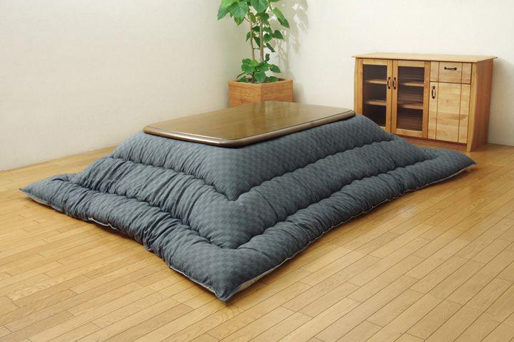 こたつ布団 正方形 インド綿 こたつ布団単品 『クレタ』 グレー 205x205cm(代引不可)【送料無料】