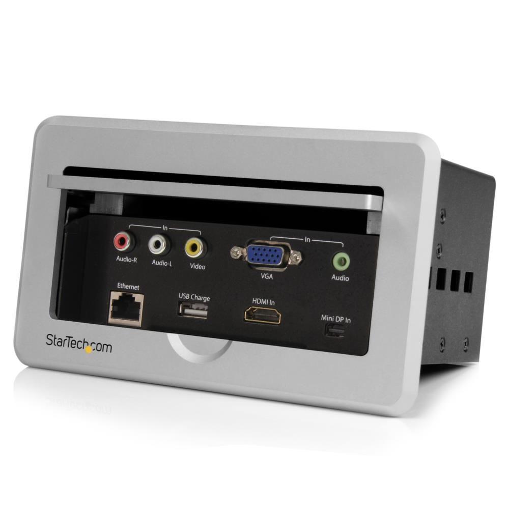 StarTech 会議室用テーブル埋め込み型AVコネクティビティBOX VGA/HDMI/Mini DisplayPort(ミニディスプレイポート)/コンポジット入力 - HDMI出力 USB充電ポート内蔵 イーサネット・パススルーポート搭載 BOX4HDECP(代引き不可)