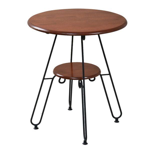 ヨーロッパ風 ロートアイアン 家具 カフェテーブル 丸 テーブル 幅60cm 高さ70 棚付き ブラック(代引不可)【送料無料】