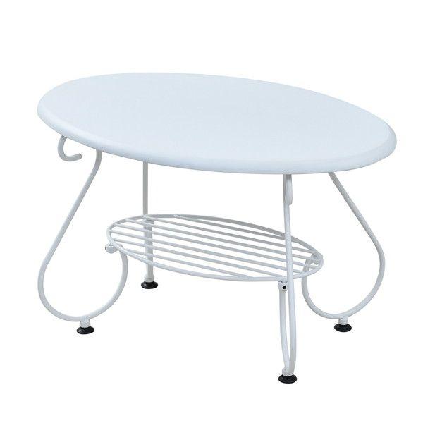 ヨーロッパ風 ロートアイアン 家具 楕円 センターテーブル 幅65cm ソファテーブル ローテーブル サイドテーブル ホワイト(代引不可)【送料無料】