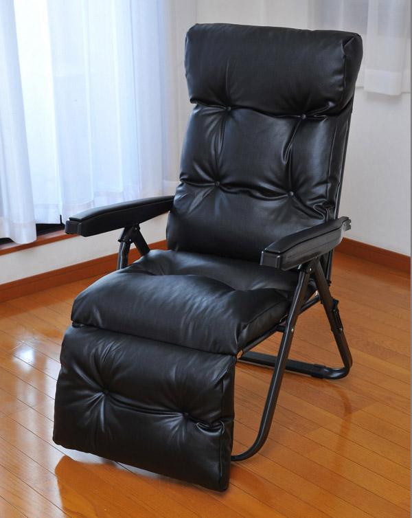 フットレスト付リラックスチェア ブラック リクライニングチェア チェア 椅子 折りたたみ可 収納(代引不可)【送料無料】