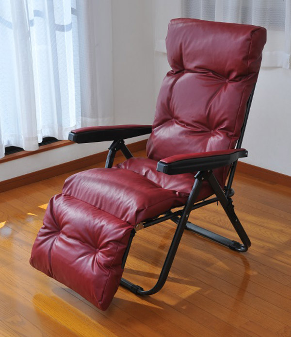 フットレスト付リラックスチェア ワインレッド リクライニングチェア チェア 椅子 折りたたみ可 収納(代引不可)【送料無料】