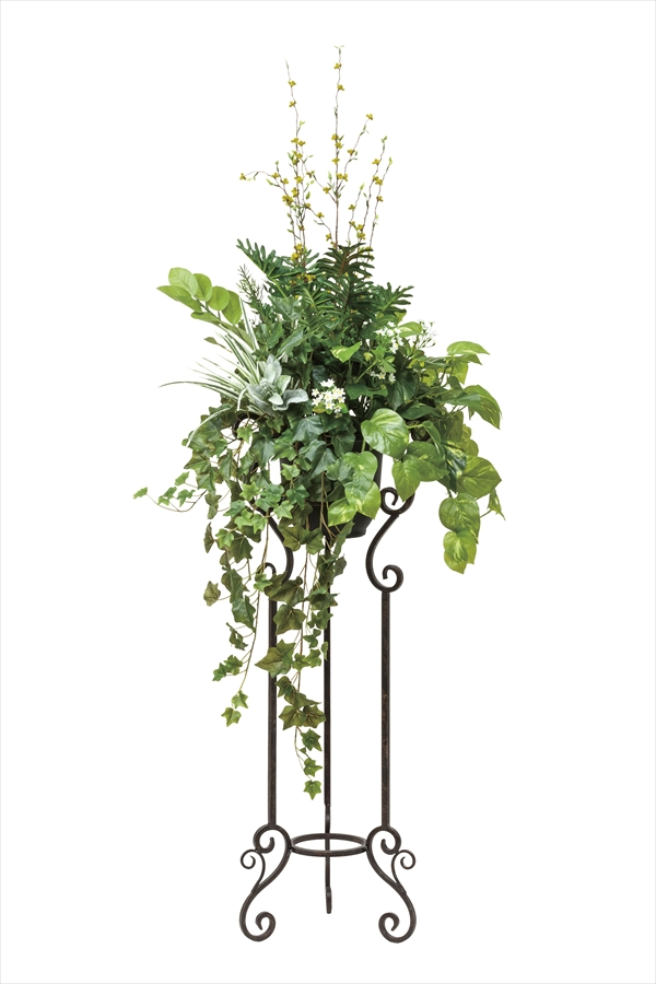 アートフラワー 人工観葉植物 光触媒 光の楽園 ミックスグリ-ンスタンドM1.45(代引き不可)【送料無料】【S1】