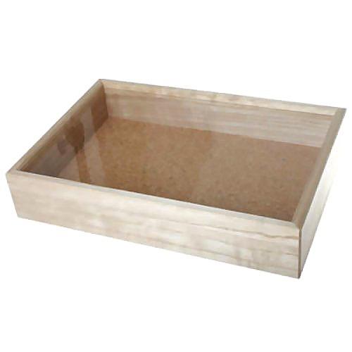 インロー硝子蓋式標本箱 (桐製コルク板敷) 中型(代引不可)