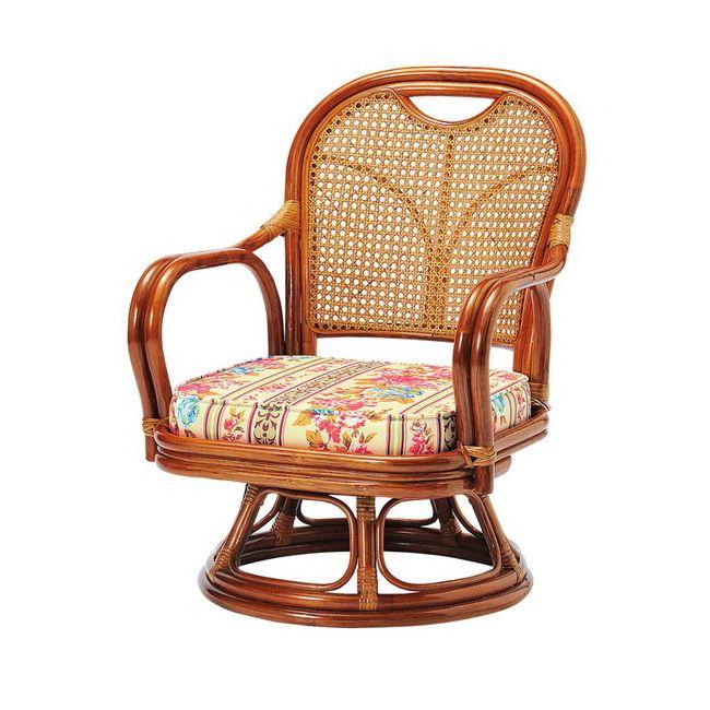 ラタン回転椅子 ロータイプ SH290 ロータイプ 高座椅子 座椅子 座いす フロアチェア 椅子 いす 籐 リビング(代引不可)【送料無料】