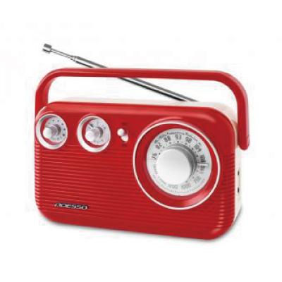 レトロAM/FMラジオ レッド RA-601RD レトロ おしゃれ ワイドFM イヤホンジャック AUX端子対応(代引不可)【送料無料】