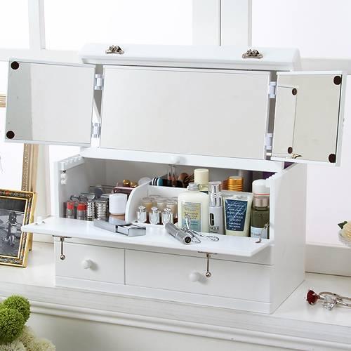 三面鏡付きワイドメイクボックス fricka〔フリッカ〕 完成品 メイクボックス コスメボックス バニティ (代引き不可)