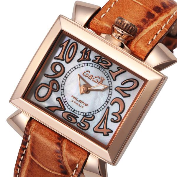 ガガ ミラノ ナポレオーネ クオーツ レディース 腕時計 60312-LBR ホワイトパール【送料無料】