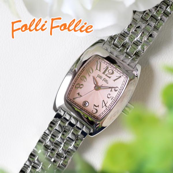 フォリフォリ FOLLI FOLLIE S922メタルベルト クオーツ レディース 腕時計 時計 WF5T080BDP ピンク