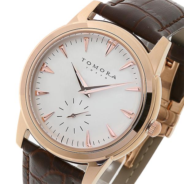 トモラ TOMORA TOKYO クオーツ メンズ 腕時計 時計 T-1602-PGWH ホワイト