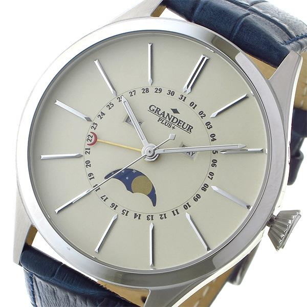 グランドール GRANDEUR プラス PLUS クオーツ メンズ 腕時計 時計 GRP011W1 アイボリー/シルバー