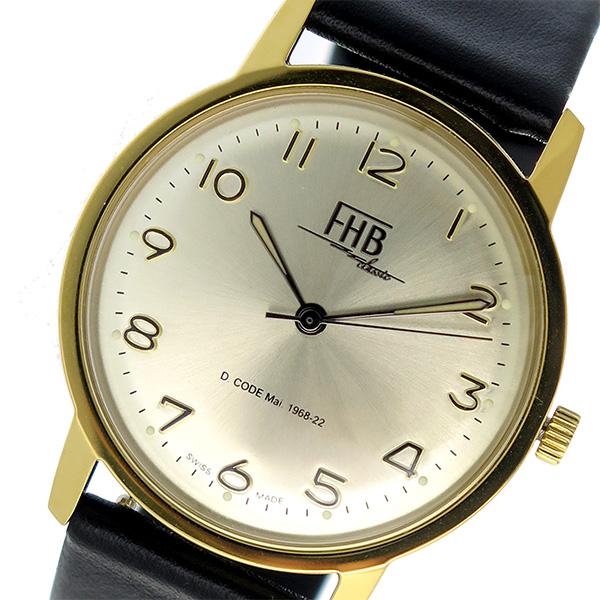 エフエイチビー FHB 替えベルト付 腕時計 時計 F908YG-RD-BK ゴールド×ブラック