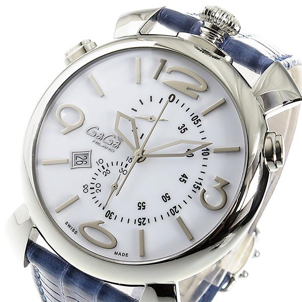 ガガミラノ GaGaMILANO クロノ クオーツ メンズ 腕時計 5097-02BJ ホワイト【送料無料】