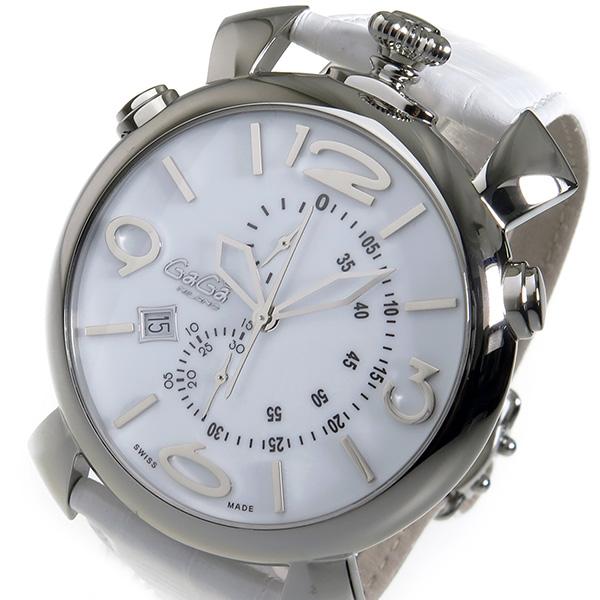 ガガミラノ シンクロノ 46mm クロノ クオーツ メンズ 腕時計 5097-02WH ホワイト【送料無料】