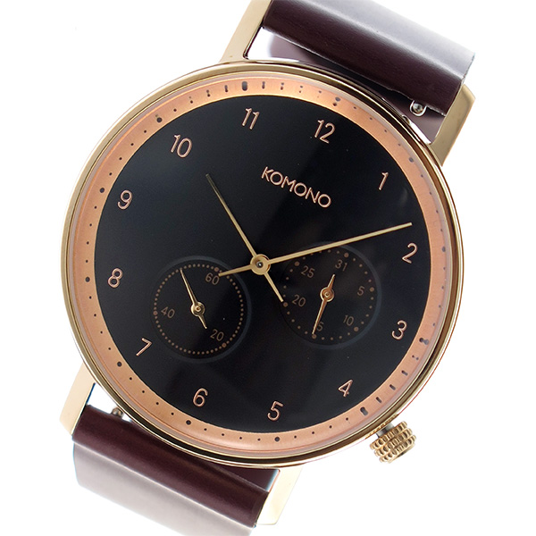 コモノ KOMONO Walther クオーツ ユニセックス 腕時計 時計 KOM-W4003 ブラック【楽ギフ_包装】