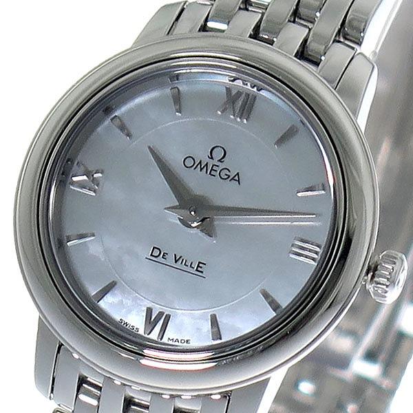 オメガ OMEGA デビル DE VILLE クオーツ レディース 腕時計 424.10.24.60.05.001 ホワイトパール/シルバー【】【楽ギフ_包装】