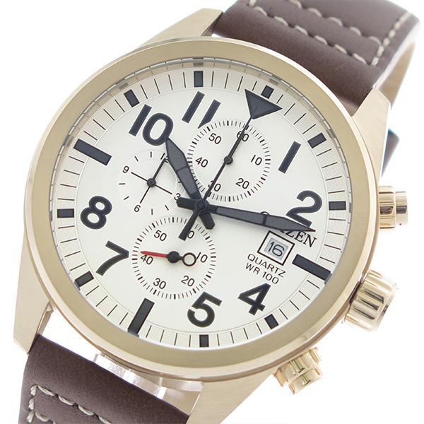 シチズン CITIZEN クロノ クオーツ メンズ 腕時計 時計 AN3623-02A ホワイトシルバー/ブラウン【楽ギフ_包装】