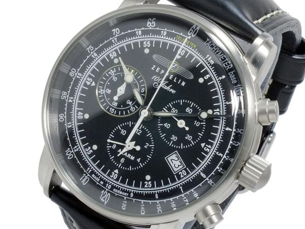 ツェッペリン ZEPPELIN 腕時計 クオーツ メンズ 7680-2S 100周年記念 コードバンカーフベルト ブラック ブラック【送料無料】